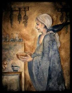 Woman and raven