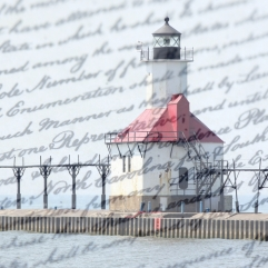 Lighthouse and words