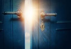 Blue door and light