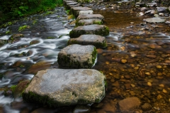 Stepping stones over river and small waterfall.