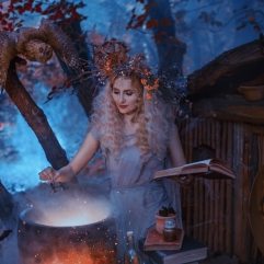 atmospheric cold autumn photo in art processing, a good witch creates a magic elixir near his forest home, holding a book in her hands, dressed in an old gray linen dress and has a wreath on her head.