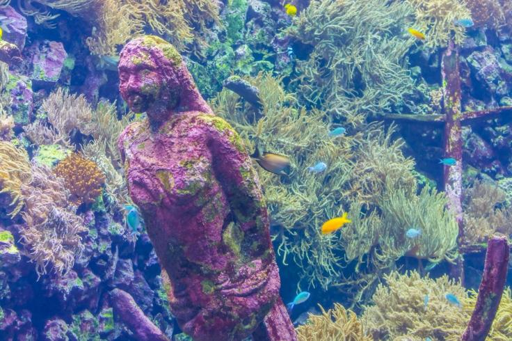 Havfrue statue under vand