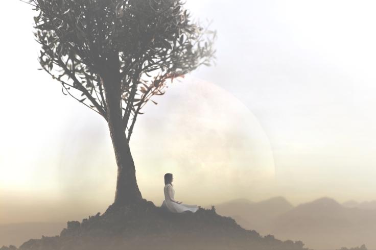 Kvinde under træ måne